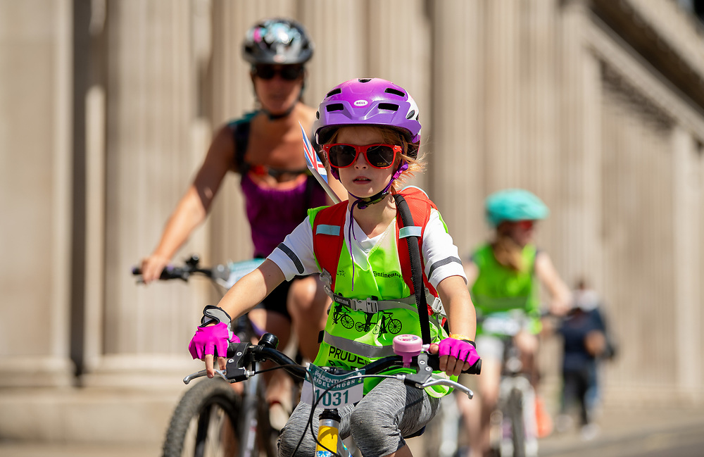 Cyclists riding past The Bank of England. Prudential RideLondon FreeCycle. Saturday 28th July 2018<br /> <br /> Photo: Thomas Lovelock for Prudential RideLondon<br /> <br /> Prudential RideLondon is the world's greatest festival of cycling, involving 100,000+ cyclists - from Olympic champions to a free family fun ride - riding in events over closed roads in London and Surrey over the weekend of 28th and 29th July 2018<br /> <br /> See www.PrudentialRideLondon.co.uk for more.<br /> <br /> For further information: media@londonmarathonevents.co.uk