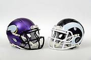 A view of Minnesota Vikings and Los Angeles Rams blue and white helmet on Thursday, November 2, 2017. (Kirby Lee via AP)