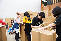 Repro Free: The People Build. In preparation for the spectacular architectural event devised by french artist Olivier Grossetete , The people of Galway are preparing 4,000  cardboard  boxes for a new structure built by the people (Saturday) and demolished by the   people on Sunday. <br />  .  Photo:Andrew Downes, xposure
