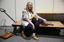 Parents Together For Yes campaigner Aoife McCardle with her daughter Clara (4) at the count centre in Dublin's RDS as official results for constituencies are announced in the referendum on the 8th Amendment of the Irish Constitution which prohibits abortions unless a mother's life is in danger. Picture date: Saturday May 26, 2018. See PA story IRISH Abortion. Photo credit should read: Brian Lawless/PA Wire