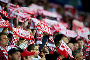 Lublin, Poland - 2017 June 16: Polish supporters while Poland v Slovakia match during 2017 UEFA European Under-21 Championship at Lublin Arena on June 16, 2017 in Lublin, Poland.<br /> <br /> Mandatory credit:<br /> Photo by &copy; Adam Nurkiewicz / Mediasport<br /> <br /> Adam Nurkiewicz declares that he has no rights to the image of people at the photographs of his authorship.<br /> <br /> Picture also available in RAW (NEF) or TIFF format on special request.<br /> <br /> Any editorial, commercial or promotional use requires written permission from the author of image.