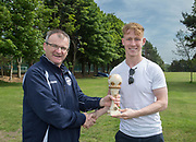 Dundee Saturday Morning Football League president Steve McSwiggan presents Menziehill's Barrie Pullar with the second division player rof the season award: Dundee Saturday Morning Football League at University Grounds, Riverside, Dundee, Photo by David Young<br /> <br /> <br />  - © David Young - www.davidyoungphoto.co.uk - email: davidyoungphoto@gmail.com