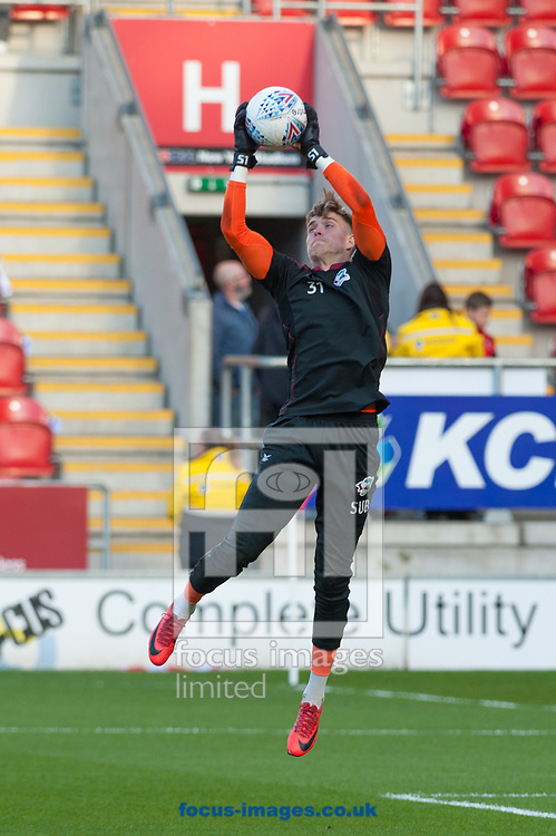 Scunthorpe United goalkeeper Rory Watson warms up after being brought in to the side ahead of the Sky Bet League 1 Play-Off Semi-Final match at the New York Stadium, Rotherham<br /> Picture by Matt Wilkinson/Focus Images Ltd 07814 960751<br /> 16/05/2018
