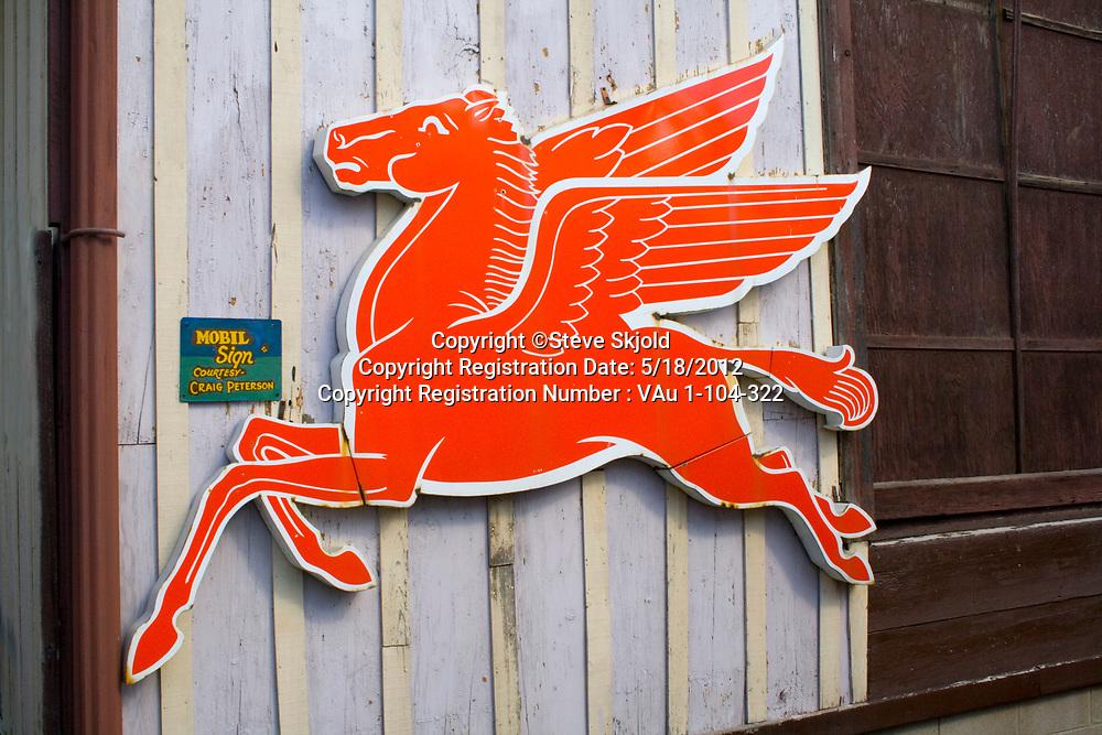 Pegasus, Mobil's winged flying red horse advertising logo. Minnesota State Fair St Paul Minnesota MN USA