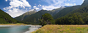 Panoramic view of Mount Aeolus and the Wilkins River, Mount Aspiring National Park, near Makarora, Otago, New Zealand.