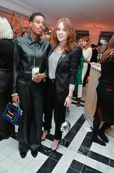 Left to right, DONNA WALLACE and ANGELA SCANLON at a dinner to celebrate the exclusive Capsule collection: Maison Michel by Karl Lagerfeld held at Selfridges, 400 Oxford Street, London on 23rd February 2015.