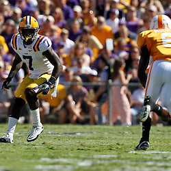 Oct 2, 2010; Baton Rouge, LA, USA; LSU Tigers cornerback Patrick Peterson (7) covers Tennessee Volunteers wide receiver Denarius Moore (6) during the first half at Tiger Stadium.  Mandatory Credit: Derick E. Hingle