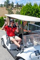 KELOWNA, CANADA - JULY 21: Conner Bruggen-Cate drives a golf cart at the Kelowna Rockets Alumni golf tournament at Black Mountain Golf Club in Kelowna, British Columbia, Canada.  (Photo by Marissa Baecker/Shoot the Breeze)  *** Local Caption ***