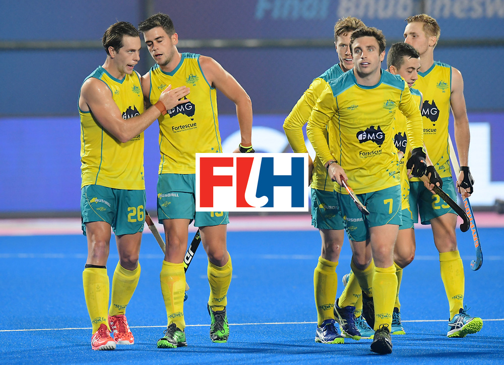 Odisha Men's Hockey World League Final Bhubaneswar 2017<br /> Match id:09<br /> Australia v England<br /> Foto: Australia scored a goal<br /> Dylan Wotherspoon (Aus) ,Blake Govers (Aus) ,Jeremy Edwards (Aus) and Daniel Beale (Aus) <br /> WORLDSPORTPICS COPYRIGHT FRANK UIJLENBROEK