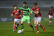 Forest Green Rovers Chris Clements(22) on the ball during the Gloucestershire Senior Cup match between Forest Green Rovers and U23 Bristol City at the New Lawn, Forest Green, United Kingdom on 9 April 2018. Picture by Shane Healey.