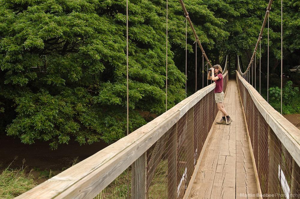 Woman birdingwatching from the Waimea Swinging Bridge, Waimea, Kauai, Hawaii