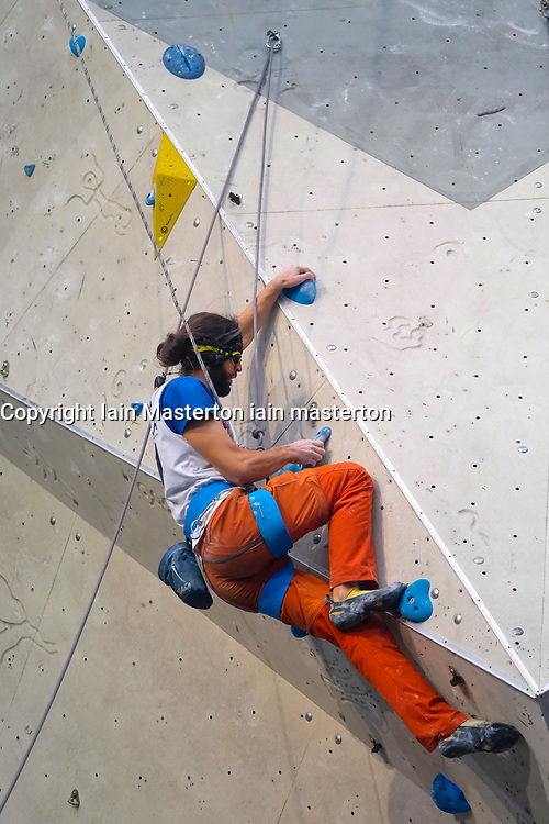 Matteo Stefani of Italy competes in Men's Visual Impairment B2 event of Paraclimbing Cup at  the International Federation of Sport Climbing (IFSC) World Cup 2017 at Edinburgh International Climbing Arena, Scotland, United Kingdom.