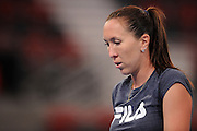 Brisbane, Australia, December 30: Jelena Jankovic of Serbia walks back to the baseline during a training session at Pat Rafter Arena ahead of the 2012 Brisbane International Tennis Tournament in Brisbane, Australia on Friday December 30th, 2011. (Photo: Matt Roberts/Photo News)