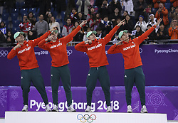 PYEONGCHANG, Feb. 22, 2018  Team Hungary celebrate during venue ceremony of men's 5000m relay final of short track speed skating at the 2018 PyeongChang Winter Olympic Games at Gangneung Ice Arena, Gangneung, South Korea, Feb. 22, 2018. Team Hungary claimed champion in a time of 6:31.971 and set new Olympic record. (Credit Image: © Han Yan/Xinhua via ZUMA Wire)