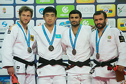 Gold medalist Zhansay Smagulov (2nd L) of Kazakhstan, silver medalist Sebastian Seidl (L) of Germany with bronze medalists Sergiu Oleinic (R) of Portugal and Arsen Galstyan (2nd R) of Russia attend the award ceremony for men's -66 kg category at Grand Prix Budapest 2015 in Budapest, Hungary on June 13, 2015. EXPA Pictures © 2015, PhotoCredit: EXPA/ Photoshot/ Attila Volgyi<br /> <br /> *****ATTENTION - for AUT, SLO, CRO, SRB, BIH, MAZ only*****