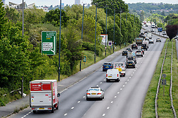 © Licensed to London News Pictures. 11/05/2020. LONDON, UK.  Midday traffic on the A40 near Greenford heading into central London.  The previous day, Boris Johnson, Prime Minister, delivered a speech to the nation relaxing certain aspects of coronavirus lockdown recommending that people return to work if they cannot work from home, but to avoid public transport.  Photo credit: Stephen Chung/LNP