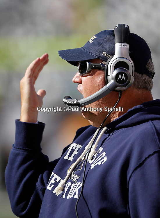New York Jets head coach Rex Ryan signals toward the field with a raised arm during the NFL week 2 football game against the Jacksonville Jaguars on Sunday, September 18, 2011 in East Rutherford, New Jersey. The Jets won the game 32-3. ©Paul Anthony Spinelli