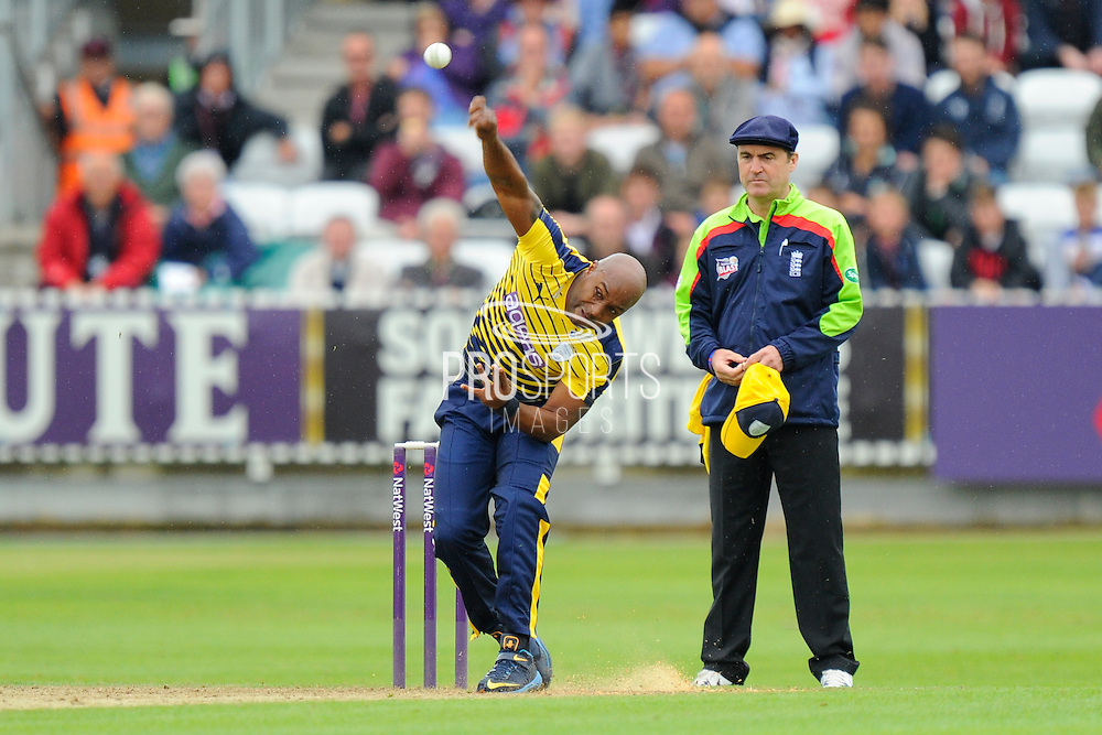 Hampshire's Tino Best during the NatWest T20 Blast South Group match between Somerset County Cricket Club and Hampshire County Cricket Club at the Cooper Associates County Ground, Taunton, United Kingdom on 19 June 2016. Photo by Graham Hunt.