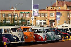 Restored VW camper vans parked up at Tynemouth British surfing championships; UK 2005