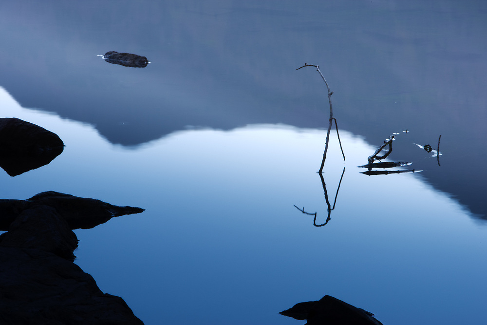 Rocks and tree branches are set in a zen like pattern of reflection and stillness in Maroon Lake Colorado.