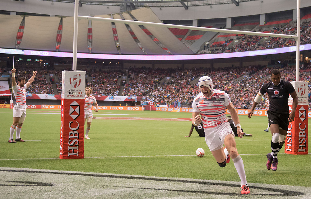 Phil Burgess scores a try for England in the Cup Semi Final during the knockout stages of the Canada Sevens,  Round Six of the World Rugby HSBC Sevens Series in Vancouver, British Columbia, Sunday March 12, 2017. <br /> <br /> Jack Megaw.<br /> <br /> www.jackmegaw.com<br /> <br /> jack@jackmegaw.com<br /> @jackmegawphoto<br /> [US] +1 610.764.3094<br /> [UK] +44 07481 764811