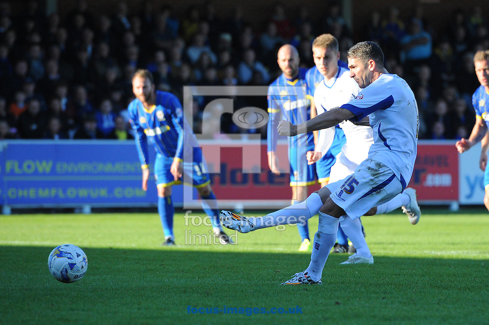 Ryan Lowe of Bury converts a penalty during the Sky Bet League 2 match at the Cherry Red Records Stadium, Kingston<br /> Picture by Seb Daly/Focus Images Ltd +447738 614630<br /> 11/10/2014
