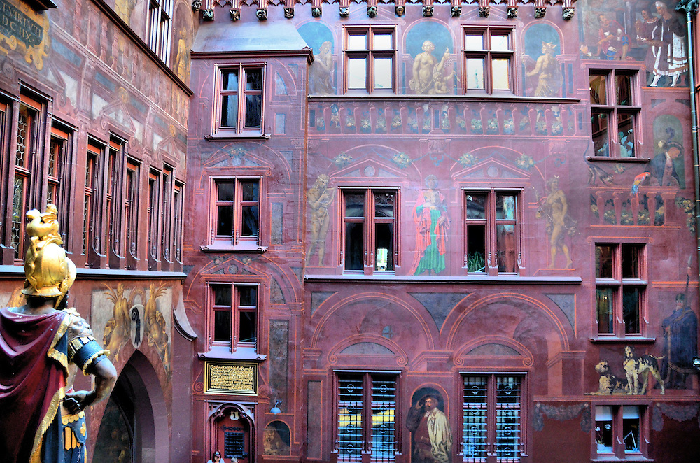 Rathaus Courtyard Paintings in Basel, Switzerland<br />