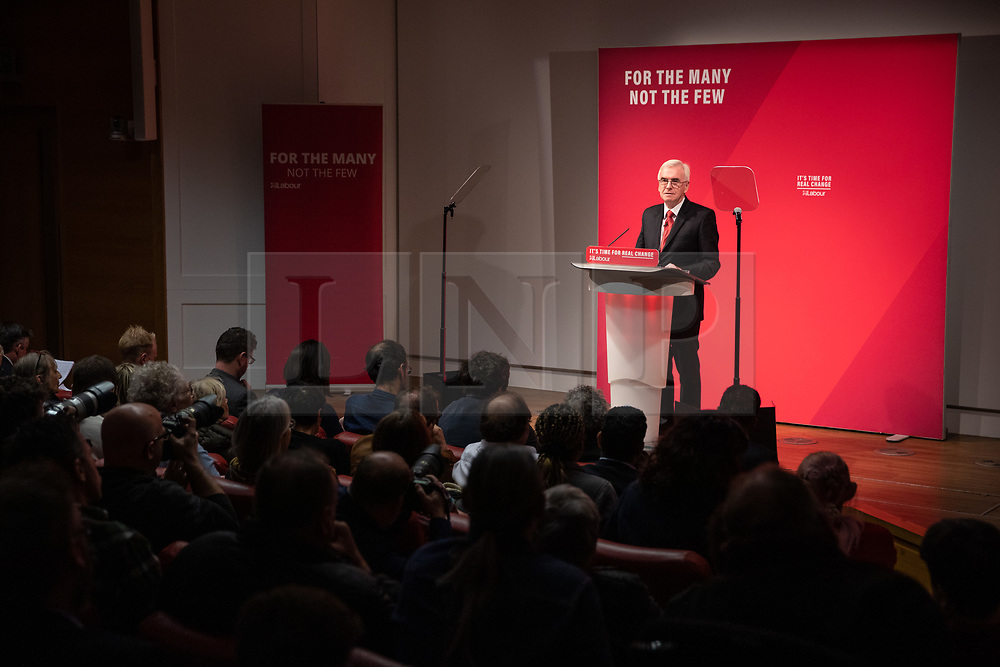 © Licensed to London News Pictures. 13/11/2019. London, UK. Shadow Chancellor of the Exchequer John McDonnell MP makes a speech at The Royal Society of Medicine to announce labour's plan for health and the NHS. Photo credit : Tom Nicholson/LNP