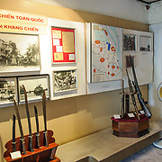 An exhibit showing photos and artefacts from the Vietnamese resistence against the French colonial government. The museum was opened on July 17, 1956, two years after the victory over the French at Dien Bien Phu. It is also known as the Army Museum (the Vietnamese had little in the way of naval or air forces at the time) and is located in central Hanoi in the Ba Dinh District near the Lenin Monument in Lenin Park and not far from the Ho Chi Minh Mausoleum.
