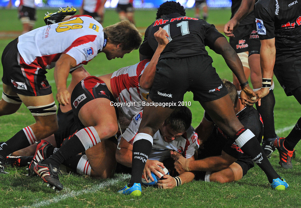 Jaco Taute of the MTN Golden Lions presses over the line to score a try<br /> &copy;Chris Ricco/Backpagepix