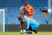 Leeds United forward Jean Kevin Augustin (9), on loan from Red Bull Leipzig, feels an injury during the U23 Professional Development League match between U23 Sheffield Wednesday and U23 Leeds United at Hillsborough, Sheffield, England on 3 February 2020.