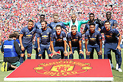 Manchester United line up during the Manchester United and Liverpool International Champions Cup match at the Michigan Stadium, Ann Arbor, United States on 28 July 2018.