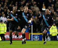 Photo. Jed Wee.<br /> Everton v Leicester City, FA Barclaycard Premiership, Goodison Park, Liverpool. 20/12/2003.<br /> Leicester's Les Ferdinand (L) celebrates his goal with Ben Thatcher (C).