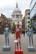 ActionAid's International Safe Cities for Women Day at St Pauls London.<br /> Picture date: Thursday May 19, 2016. A third of the mannequins featured in the installation will be marked in red, to represent the one in three women who experience violence in their lifetimes. But behind every statistic is a real woman, and on each mannequin are quotes from women around the world telling their experience of urban violence and the stories behind the statistics. ActionAid is campaigning for the UK government to commit to increasing the proportion of aid going directly to women's groups working on the frontline in poor communities. (photo by Andrew Aitchson/ActionAid)