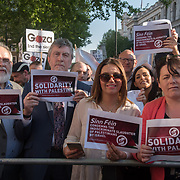 Sinn Fein teams join the protests of the massacre of Palestinian protestor in Gaza by the Israelis army on the day US moving its embassy to Jerusalem outside Downing Street on 15 May 2018, London, UK.