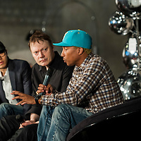 HONG KONG - APRIL 27:  (L-R) Khalil Fong, William Orbit and Pharrell Williams during the Liberatum Hong Kong International Festival of Culture press conference at the Lane Crawford Joyce Group headquarters on April 27, 2012 in Hong Kong, Hong Kong.  Photo by Victor Fraile / studioEAST