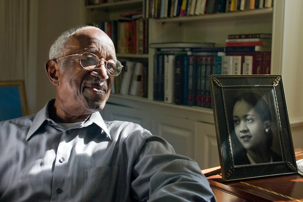 Duke University History Professor Emeritus John Hope Franklin at his home in Durham, NC. Franklin recently won the 2006 John W. Kluge award for his lifetime achievements in the humanities and is author of the seminal book From Slavery to Freedom: A History of African-Americans, now in its seventh edition. Photo by DL Anderson.