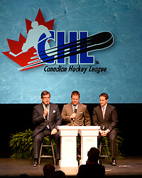Rob Faulds (left), Sam Cosentnio and RJ Broadhead of Sportsnet at the 2013-14 Canadian Hockey League Awards Ceremony at the Grand Theatre in London, ON on Saturday May 24, 2014. Photo by Aaron Bell/CHL Images