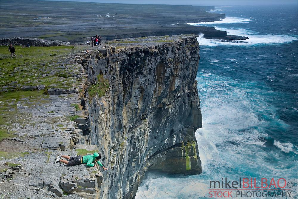 Dun Aengus fort (D&uacute;n Aonghasa) cliffs.<br /> Inishmore island, Aran island. County Galway, Ireland.