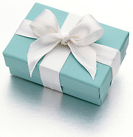 Tiffany gift box on white background
