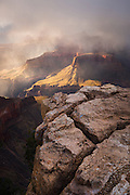 Storms descend upon the Tower of Set in Grand Canyon National Park.