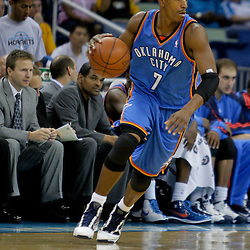 Oct 10, 2009; New Orleans, LA, USA; Oklahoma City Thunder guard Kevin Ollie (7) drives against the New Orleans Hornets during a preseason game at the New Orleans Arena. The Hornets defeated the Thunder 88-79. Mandatory Credit: Derick E. Hingle-US PRESSWIRE