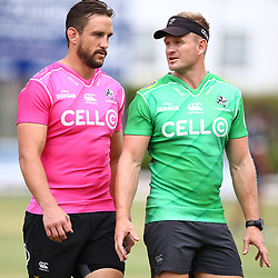 Keegan Daniel with Michael Claassens during the cell c sharks pre season training session at  Growthpoint Kings Park ,25,01,2018 Photo by Steve Haag)