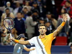 SHANGHAI, Oct. 13, 2018  Borna Coric of Croatia celebrates after the men's singles semifinal match against Switzerland's Roger Federer at 2018 ATP Shanghai Masters tennis tournament in Shanghai, east China, Oct. 13, 2018. (Credit Image: © Fan Jun/Xinhua via ZUMA Wire)