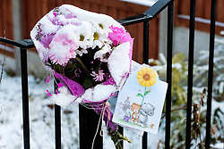 A small number of  Floral Tributes outside the house on Beck Road where a Three Year old girl was taken from to Sheffield Childrens Hosptial on Friday (8th feb). The girl later died around 12:20am Saturday morning (9 Feb).A 30-year-old man charged with murder of three-year-old girl from Beck Road Shiregreen, Sheffield..11 February 2013.Image © Paul David Drabble