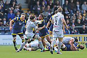 Worcester Warriors Joe Taufete'e Hooker (2) fights to keep the ball second half during the Aviva Premiership match between Worcester Warriors and Bath Rugby at Sixways Stadium, Worcester, United Kingdom on 15 April 2017. Photo by Gary Learmonth.