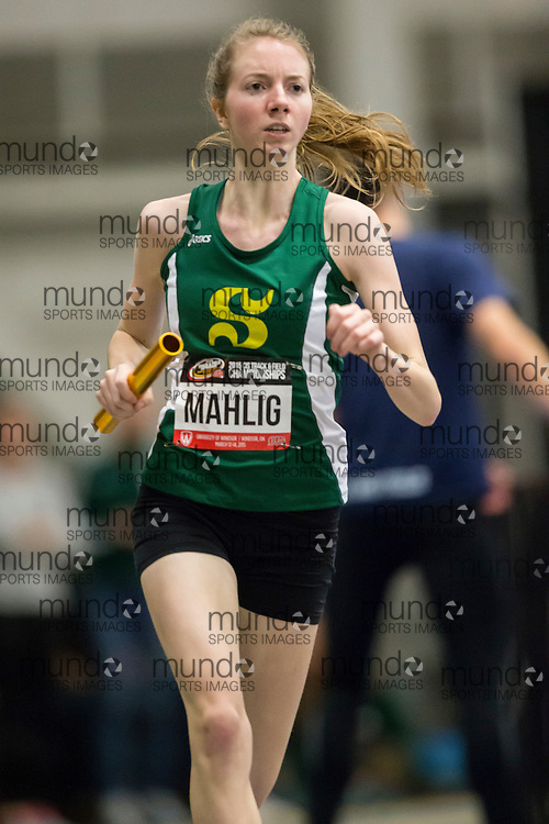Windsor, Ontario ---2015-03-14--- Alexia Mahlig of Sherbrooke competes in the 4X400m at the 2015 CIS Track and Field Championships in Windsor, Ontario, March 14, 2015.<br /> GEOFF ROBINS/ Mundo Sport Images