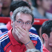 06 October 2010: Team France (soccer) manager Laurent Blanc is seen during the Minnesota Timberwolves 106-100 victory over the New York Knicks, during 2010 NBA Europe Live, at the POPB Arena in Paris, France.