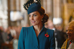 The Duchess of Cambridge leaving the Anzac Day Service of Commemoration and Thanksgiving at Westminster Abbey, London.