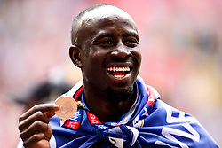 Albert Adomah of Aston Villa celebrates winning promotion to the Premier League after beating Derby County in the Sky Bet Championship Playoff Final - Mandatory by-line: Robbie Stephenson/JMP - 27/05/2019 - FOOTBALL - Wembley Stadium - London, England - Aston Villa v Derby County - Sky Bet Championship Play-off Final